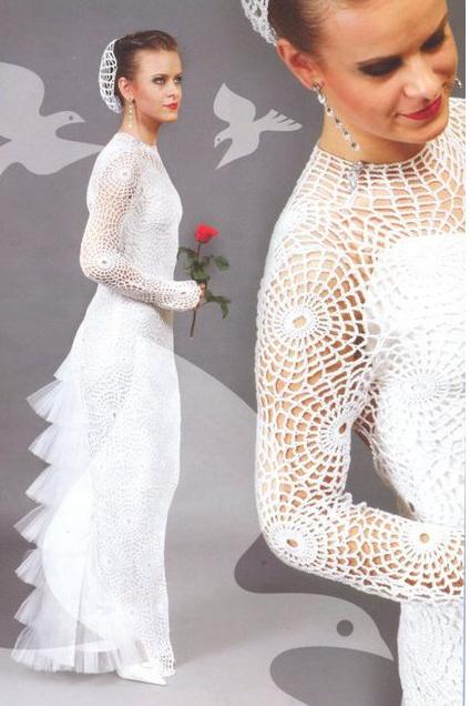 Wedding Dress with Glamour - Crochet Patterns | tejidos | Pinterest ...