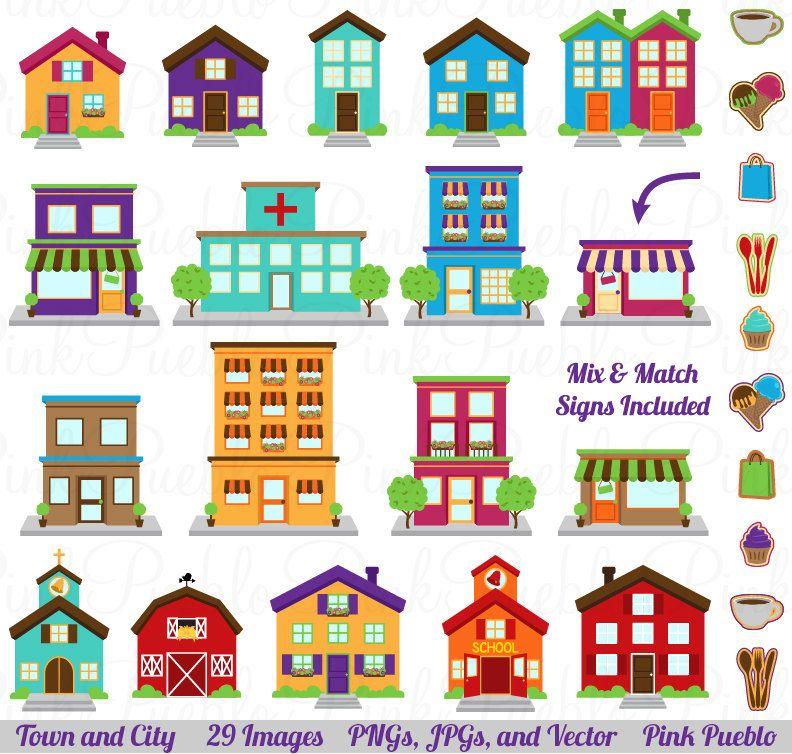City Clipart Clip Art Printable House Village Town by PinkPueblo