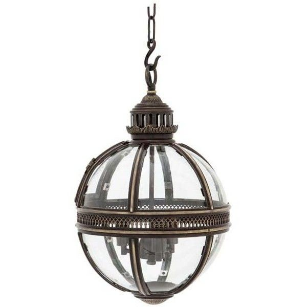 Eichholtz Lantern Residential Medium - Brass ($1,165) ❤ liked on Polyvore featuring home, home decor, candles & candleholders, brass lantern and brass home decor