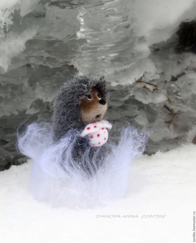 Купить Ежик в тумане фигурка. Герои мультфильмов из шерсти сухое валяние - серый, еж