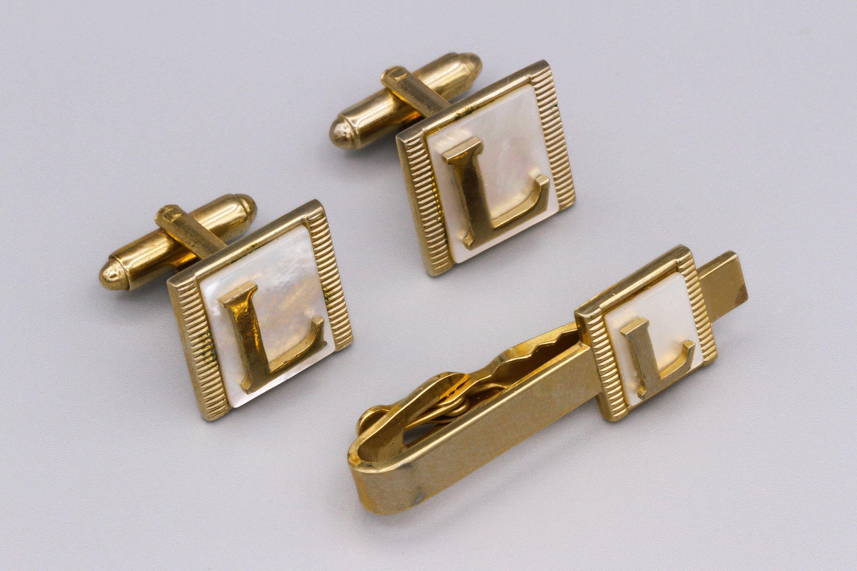 Tie Bar Mid Century Square Cufflinks Cuff Links Vintage Silver Cufflinks and Tie Clip Mens Gift
