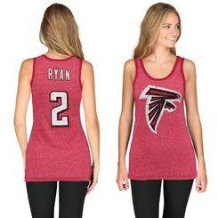 Matt Ryan Atlanta Falcons Majestic Threads Women's Primary Logo Name & Number Tank Top - Red