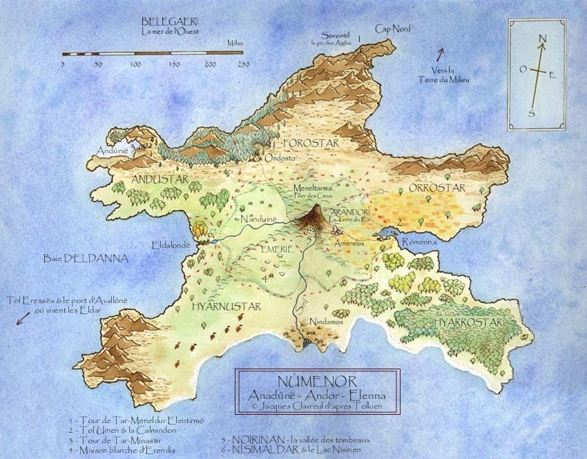 Map of Tolkien's Númenor. | Middle earth | Middle earth, Tolkien