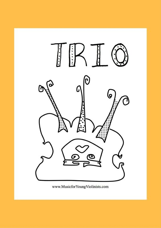 TRIO COLORING SHEET - Free Violin Music and Innovative Teaching Resources at www.MusicforYoungViolinists.com