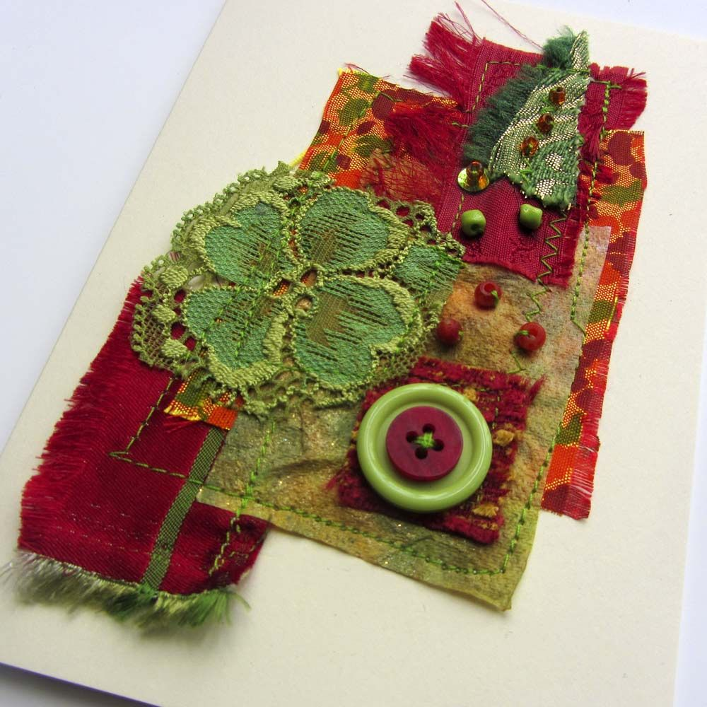 Ro Bruhn Art: collage greeting cards for framing - fabric, stitching ...