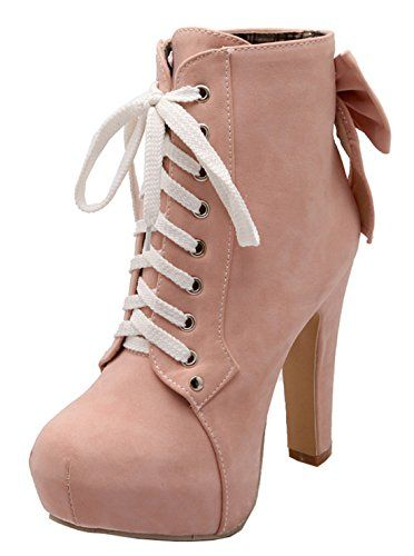 9658ef8cb9bc69 YE Damen Ankle Boots Blockabsatz High Heels Plateau Stiefel mit Schnürung  und 11cm Absatz Elegant Herbst Winter Schuhe  Amazon.de  Schuhe    Handtaschen