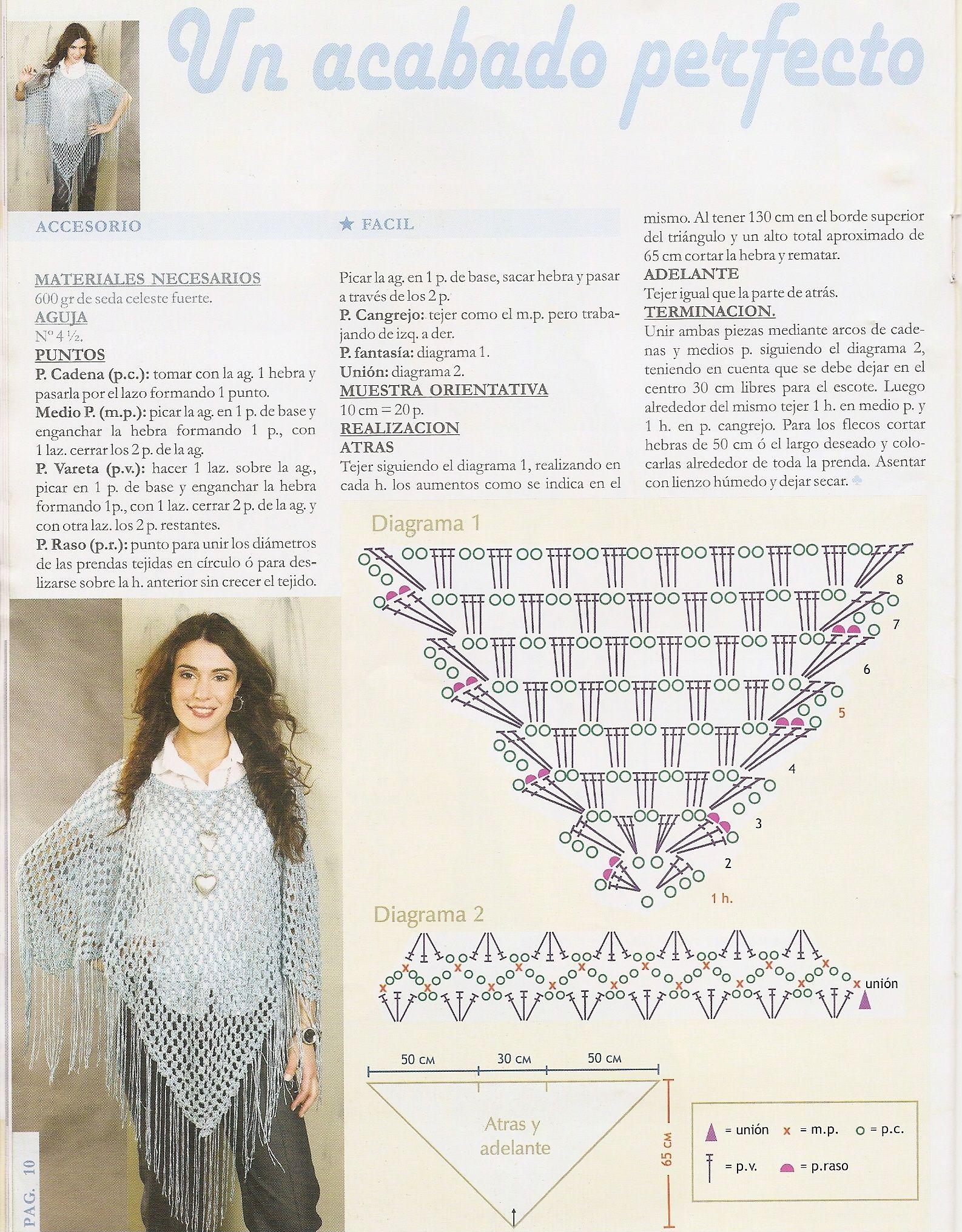 diagrama poncho chal | cuellos | Pinterest | Chal, Ponchos y Ganchillo