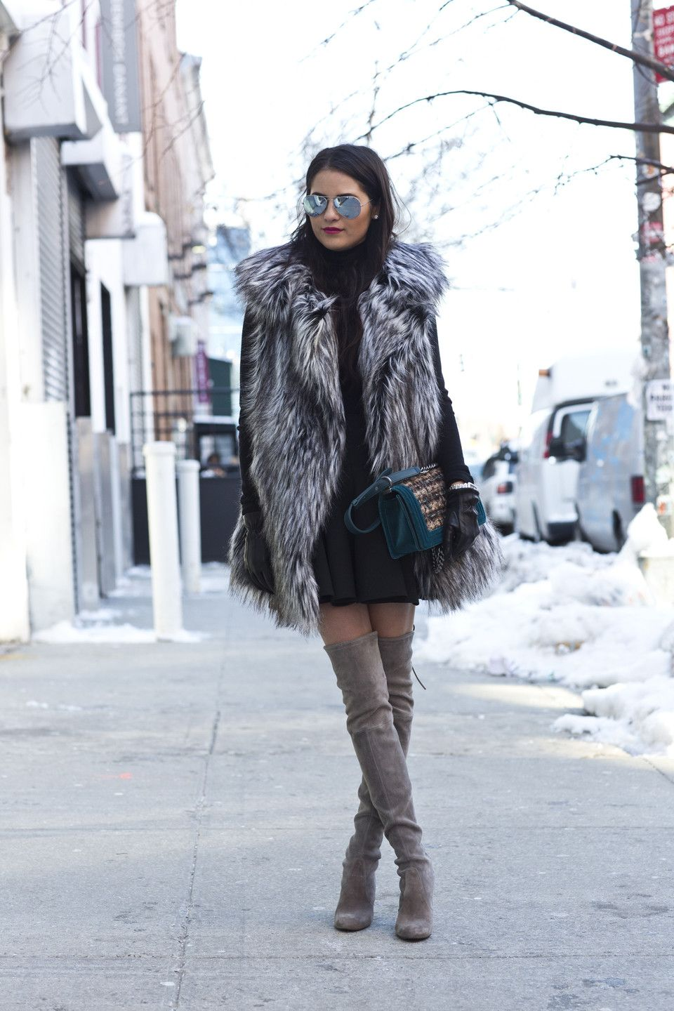 e96b4199f3a You need this look!!! Rach Parcell Faux Fur Vest and Thigh High ...