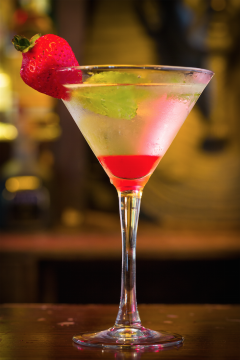 If the thought of swilling vodka and St. Germain seems intense for your first sip, give the drink a swirl with your straw to mix in the strawberry puree.   Get the recipe on Delish.