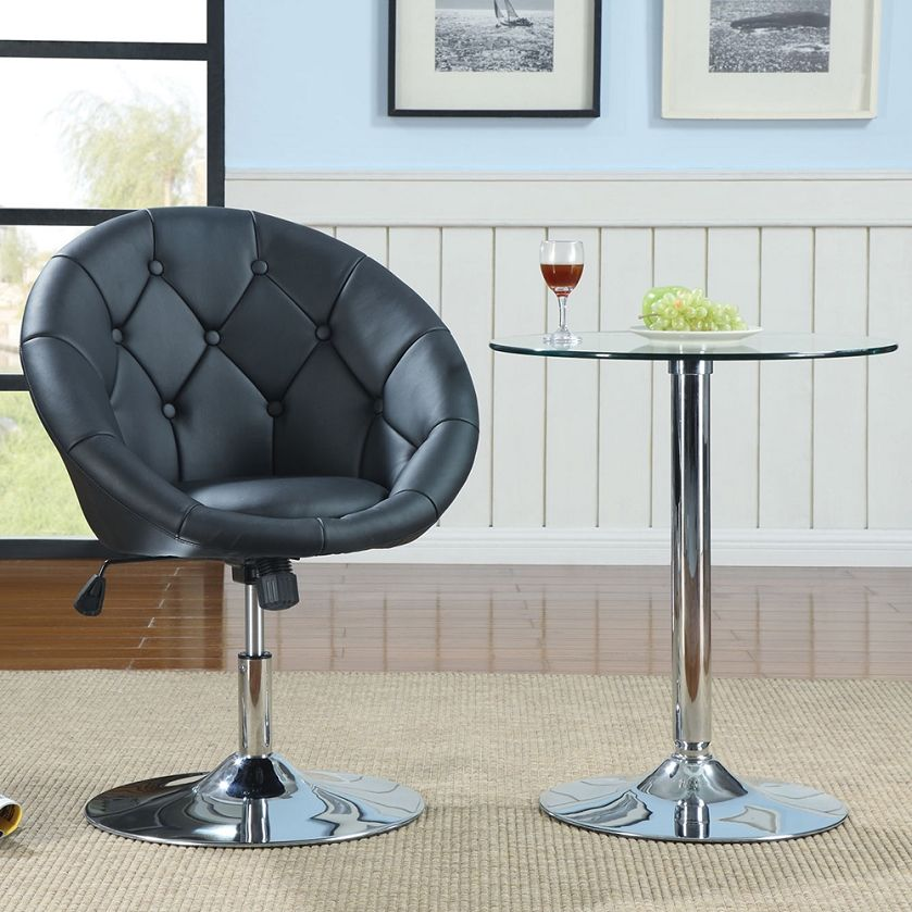 Astonishing Button Tufted Swivel Contemporary Chair In Black Coaster Ncnpc Chair Design For Home Ncnpcorg