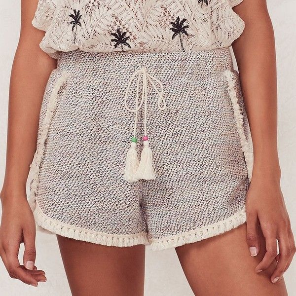 be178fa235 Women's LC Lauren Conrad Beach Shop Fringe French Terry Shorts ($33) ❤  liked on Polyvore featuring med grey and lc lauren conrad