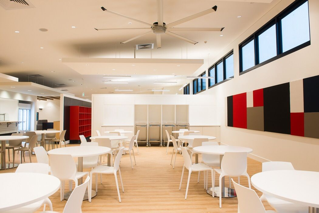 clean lines and bold features in the new Nestle cafeteria.