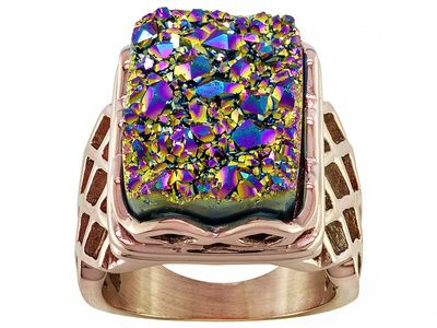 Don't force yourself to choose just one color to wear! Wear them all with this rainbow color drusy ring! | Rectangular Rainbow Color Drusy Rose Tone Stainless Steel Ring