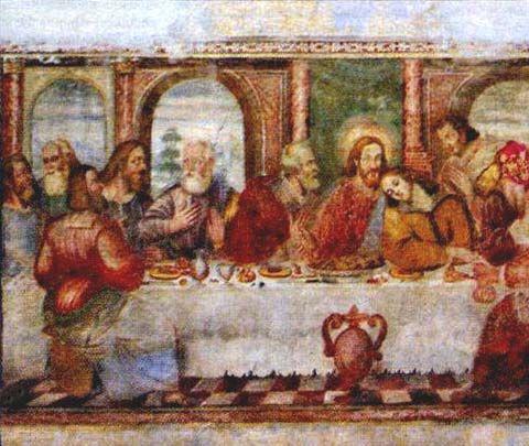 Anonimo - Ultima cena - affresco - Chiesa di San Benedetto - Celarda, nel bellunese.