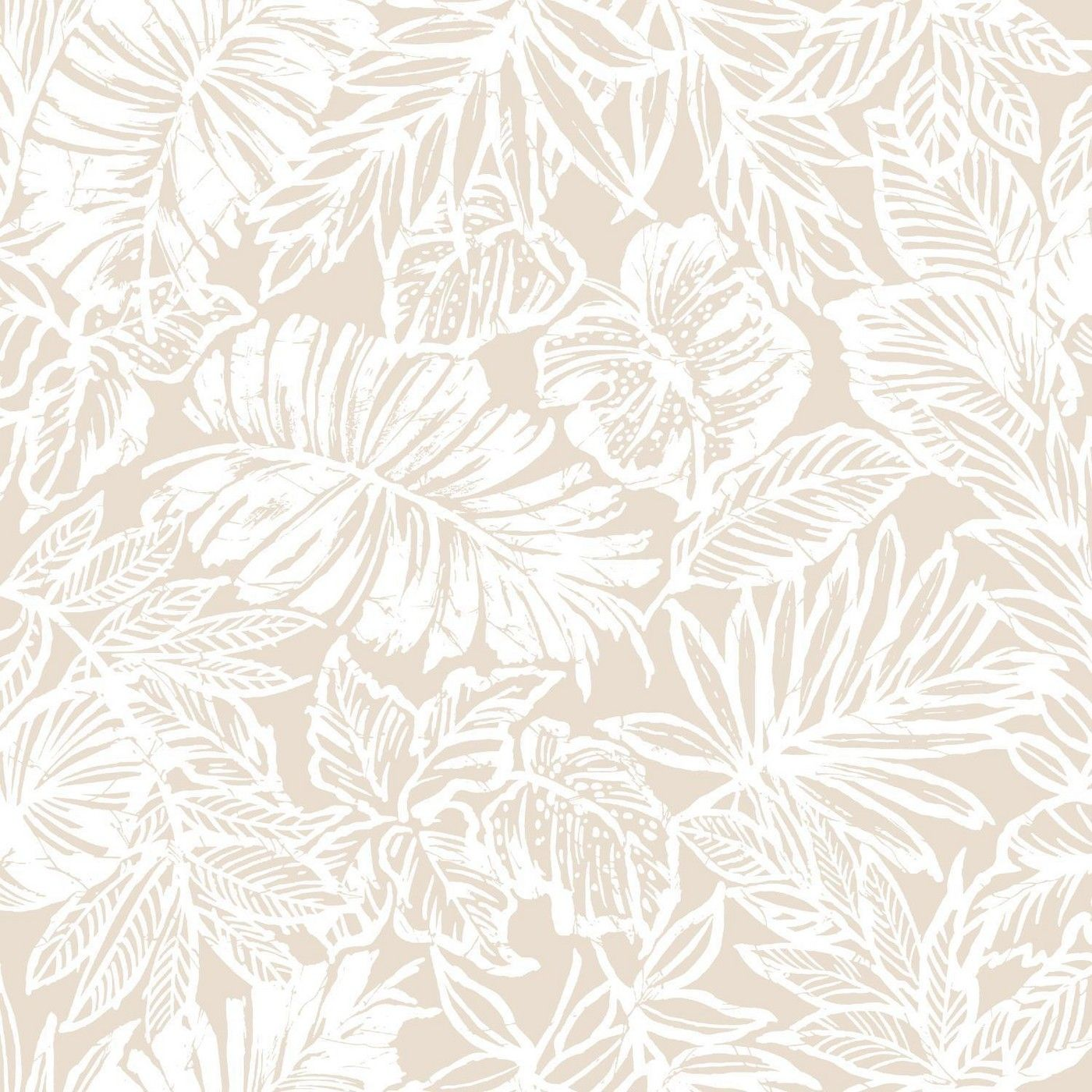 Tropical Leaf Peel & Stick Wallpaper Tan RoomMates