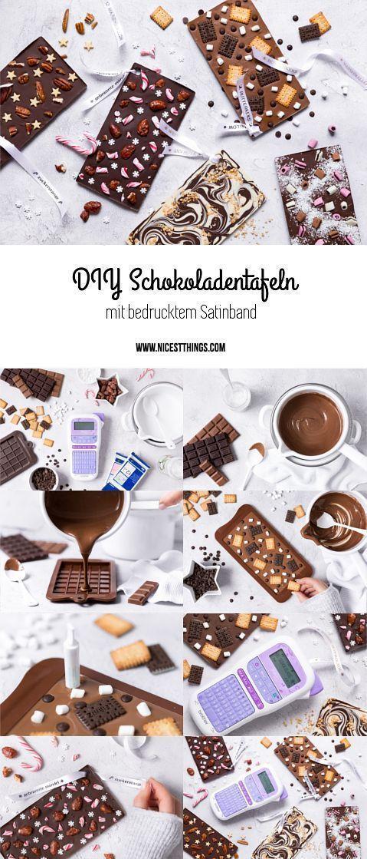 DIY Schokoladentafeln mit bedrucktem Band: Last Minute Geschenk - Nicest Things #lastminuteweihnachtsgeschenke