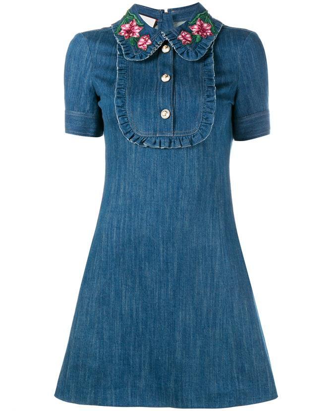 e312a7cdf GUCCI Embroidered Ruffle Denim Mini Dress