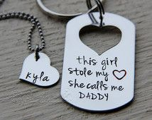 This girl stole my heart, she calls me daddy keychain and daughter necklace set - Personalized hand stamped Fathers Day Gift from daughter