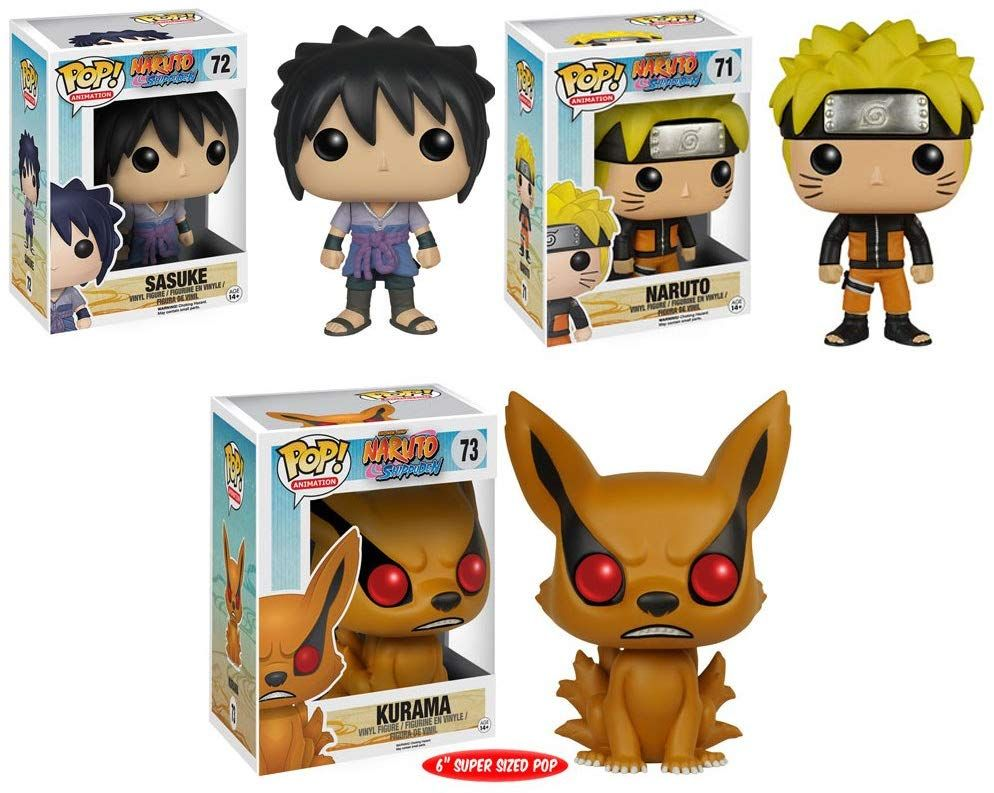 Pop Anime Naruto Sasuke Naruto And Kurama 6 Vinyl Figures