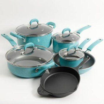 Pioneer Woman 10 Piece Non-Stick Pots Pans Seasoned Cookware Set Kitchen Cooking