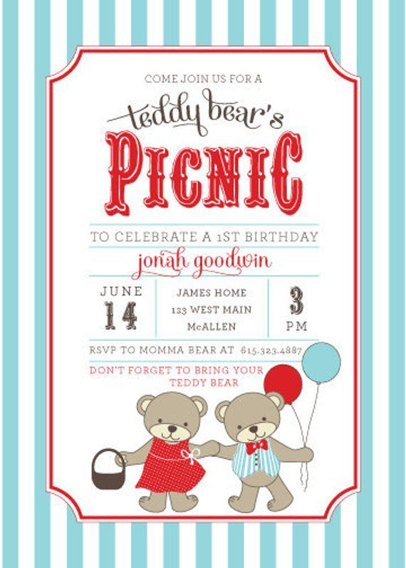 Teddy Bear Picnic Invitations Bears Birthday Invitation Aqua And Red Printable Or Printed