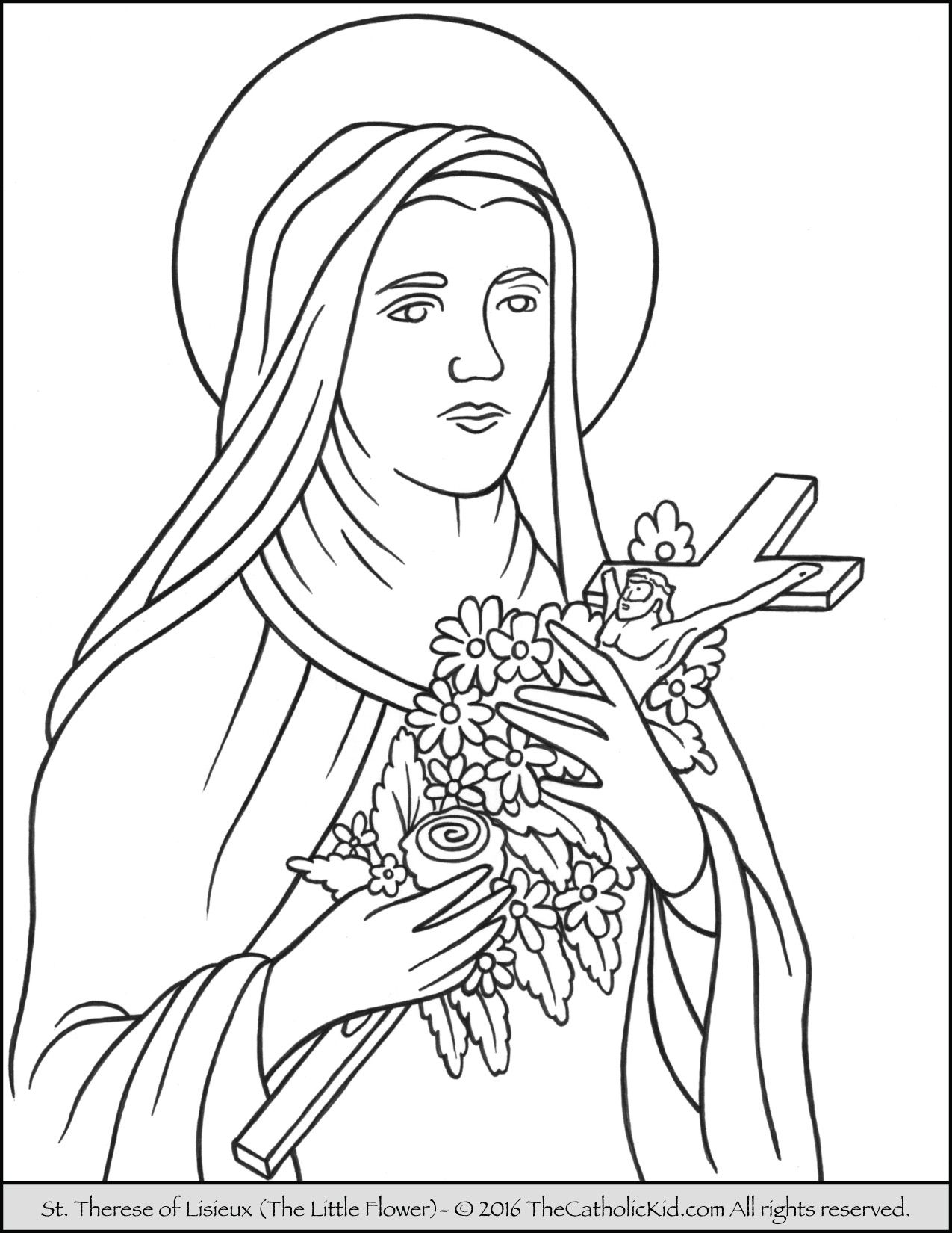 saint therese of lisieux little flower coloring page catholic