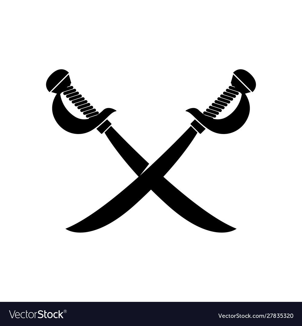 Crossed Swords Isolated On White Background Vector Image Sponsored Isolated Swords Crossed White Ad Gambar Pedang