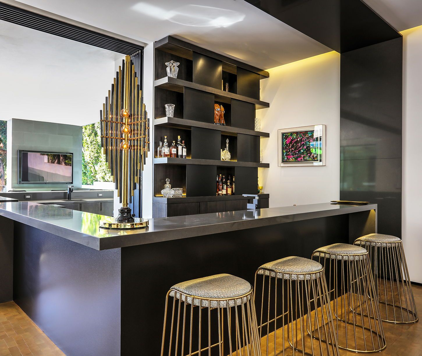 Interior Design Ideas Home Bar: Custom Designed Home Bar With Brass Accent Bar Chairs And