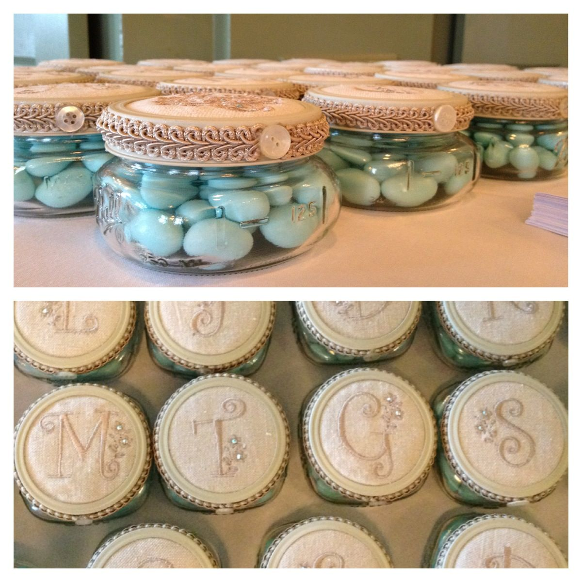 Bridal shower gifts with personalized lid per guests