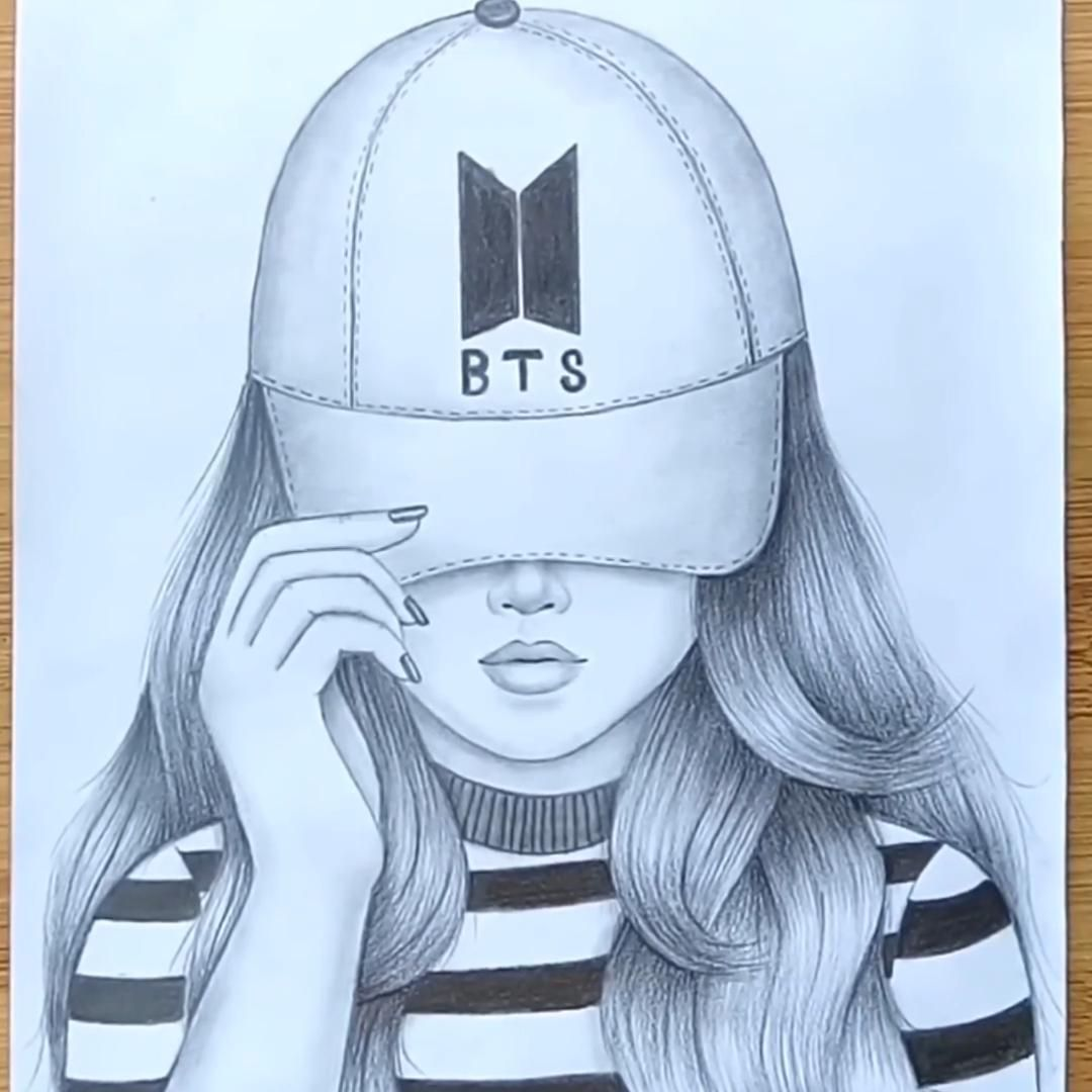 How To Draw A Girl With Cap A Girl With Bts Cap Pencil Drawing Video In 2020 Art Drawings Sketches Creative Beauty Art Drawings Art Drawings Sketches Simple