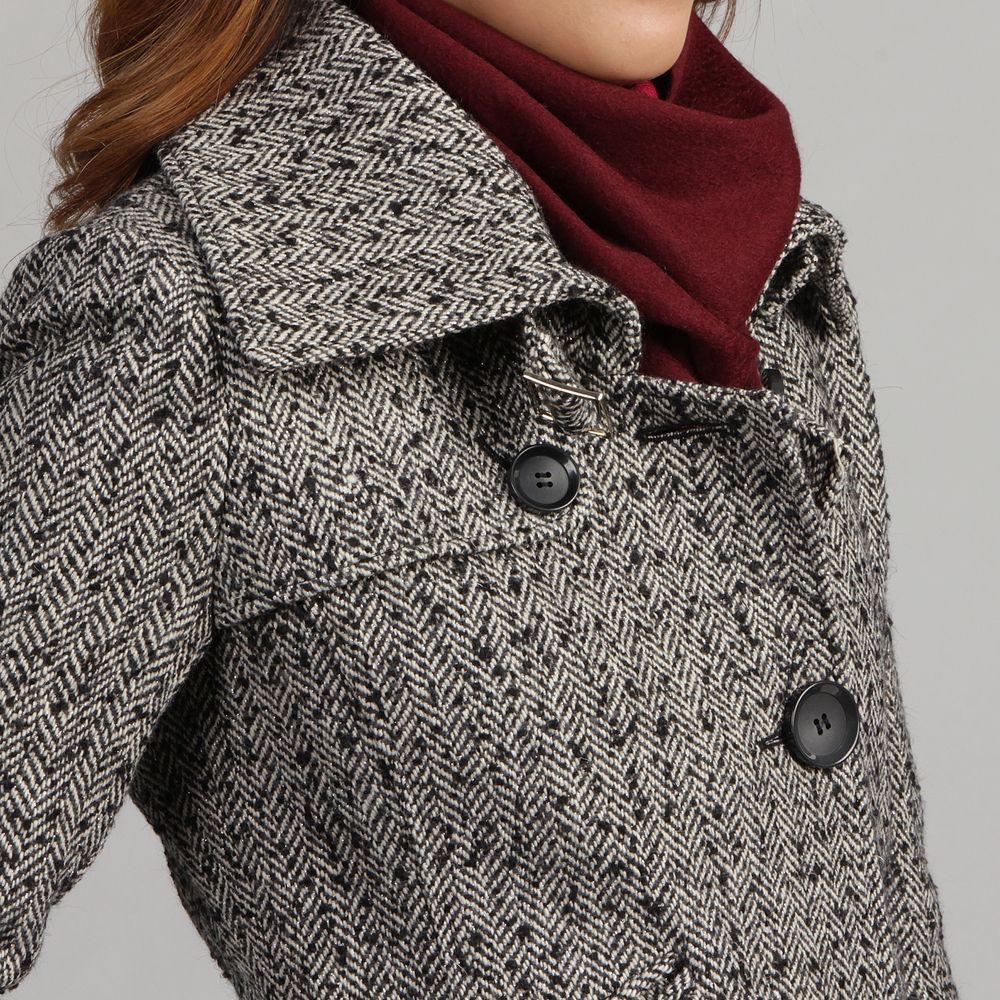 Nicole Miller Women's Herringbone Tweed Low Belted Coat ...