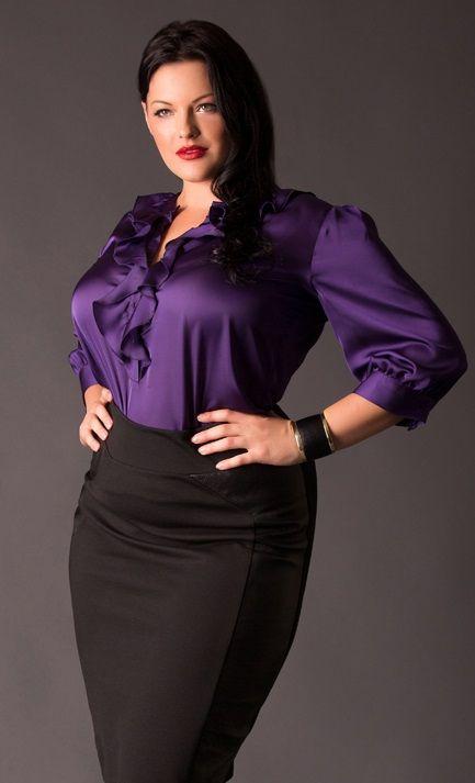 4af54117dd840 Purple plus size satin blouse