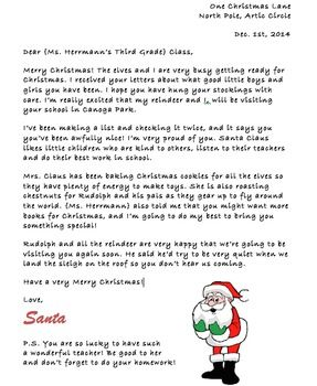 Letter From Santa To Your Class Or Child Editable  Writing