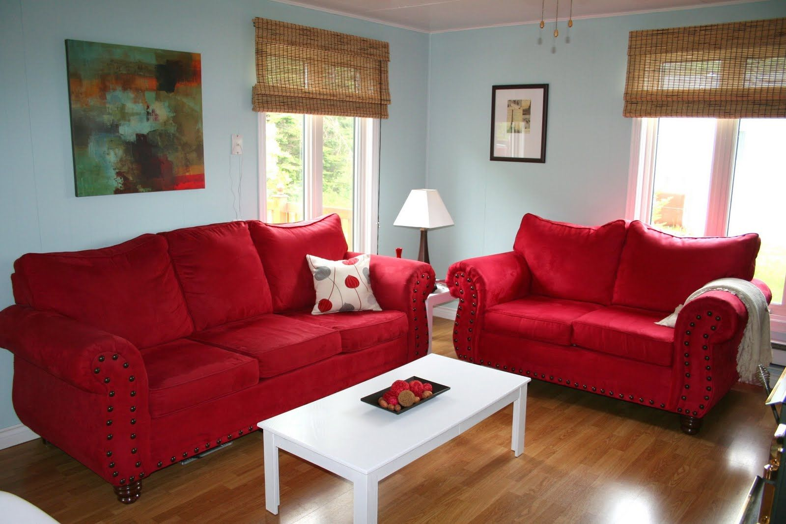 love the light blue walls with red furniture. living room! | for
