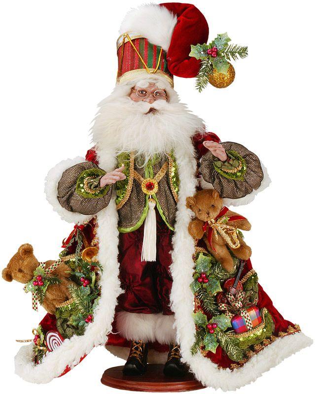 3d76602c Farvestrålende og flot Toy Santa fra den amerikanske designer Mark Roberts.  Højde 63 cm. Legetøjs julemanden er iklædt en flot mørkerød rød kåbe i  lækkert ...