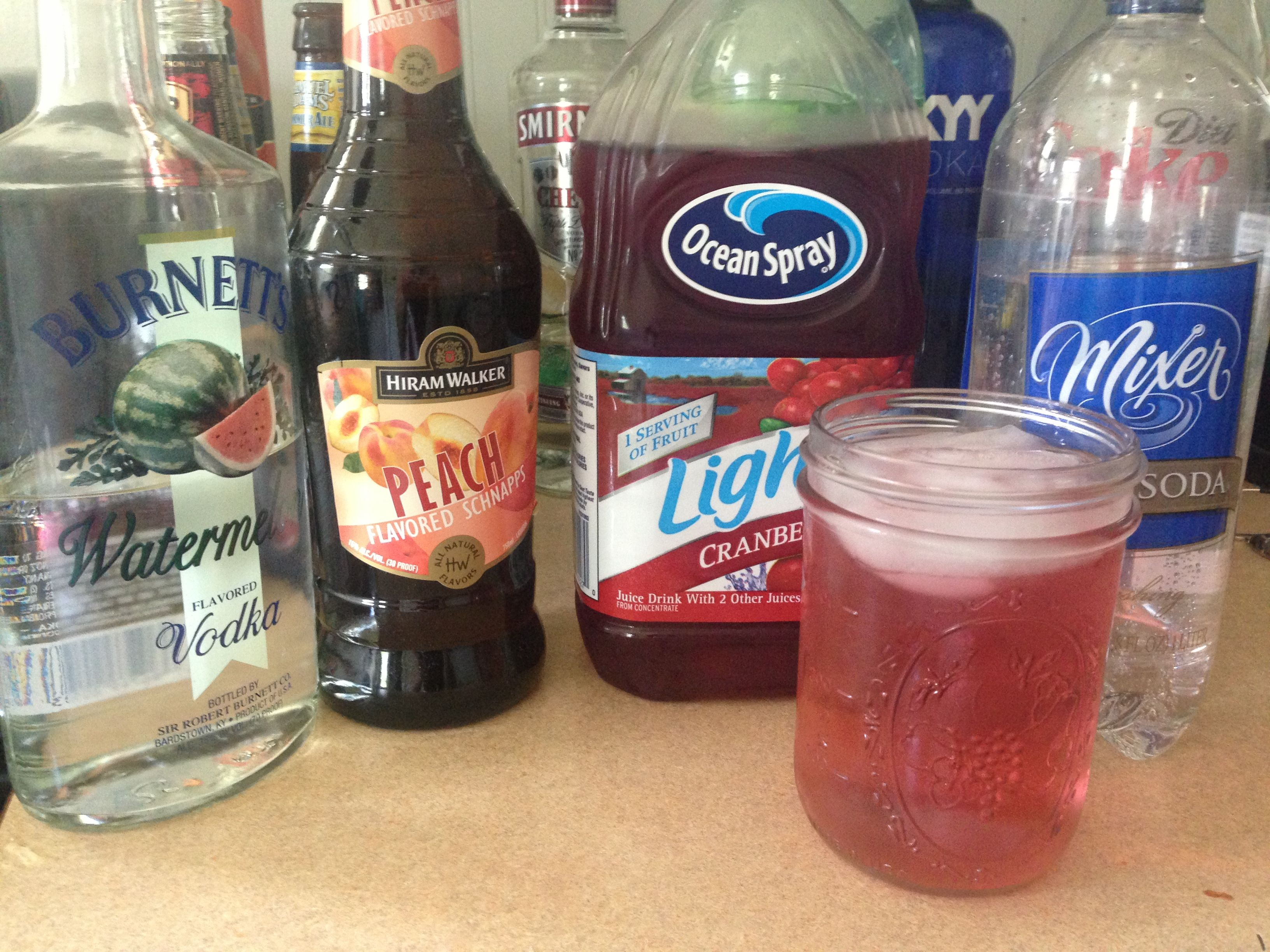Jolly Rancher Watermelon Vodka Peach Schnapps Club Soda And A Splash Of Cranberry Juice Yum Watermelon Vodka Drinks Peach Schnapps