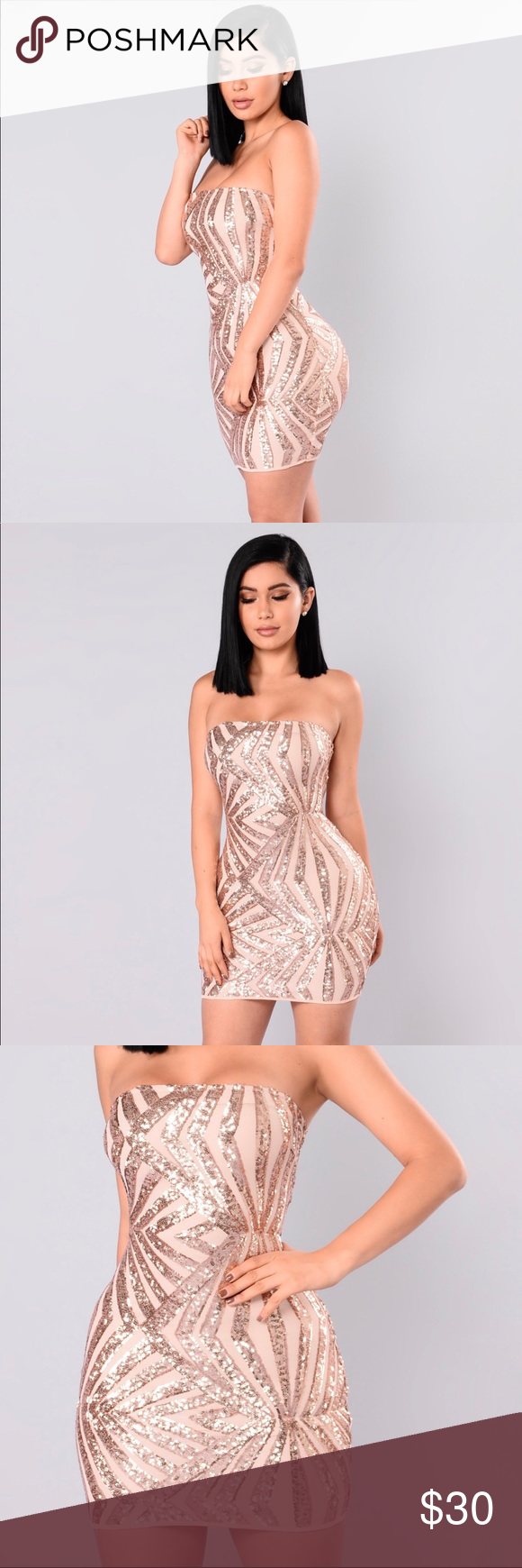 Strapless Sequin Dress Brand new & never worn in a rose