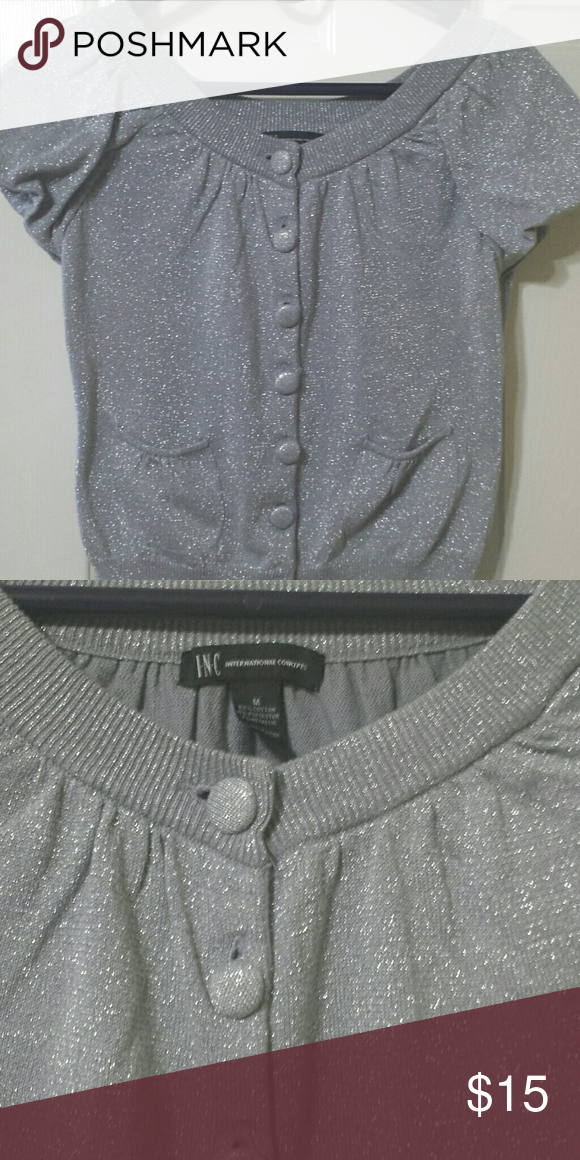 Silver cardigan | Silver shorts, Silver cardigans and Short sleeve ...