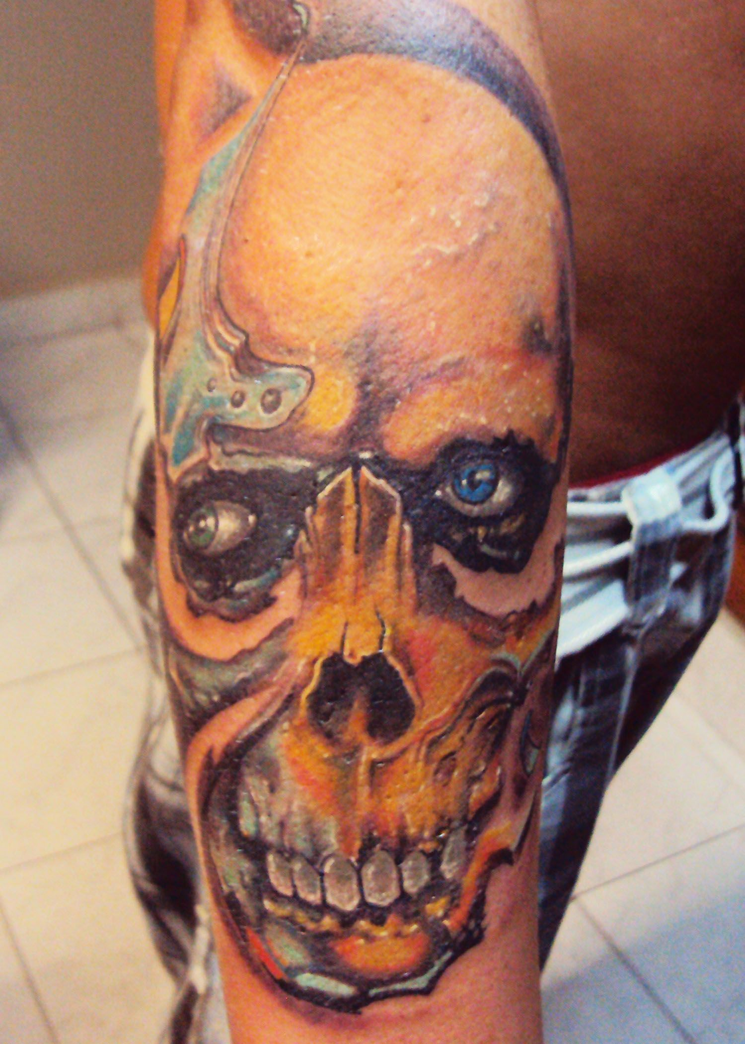Skull Free Hand Gunn Art Tattoos Forearm Tattoos Y Zombie Tattoos