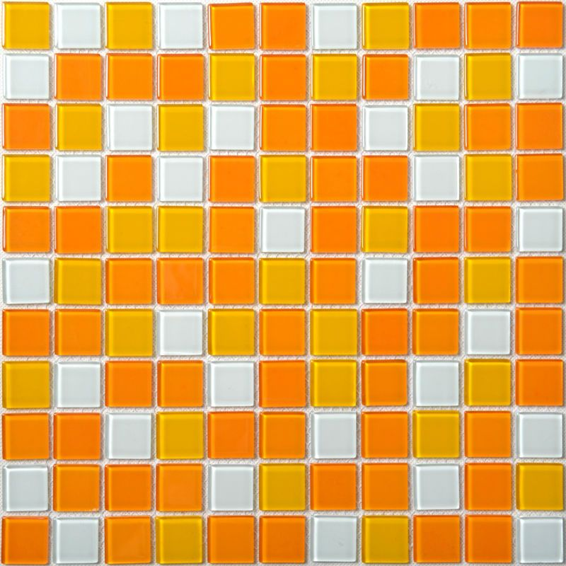 Glass Azulejos De Mosaico Blanco Y Naranja Mixed Tile Backsplash