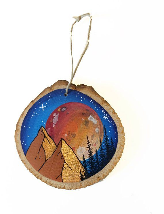 Mountain ornament, nature ornament, pine tree forest, full super moon art, Christmas holiday, hiking