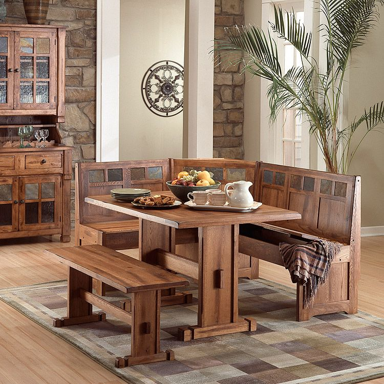 Rustic Oak Breakfast Nook Set With Slate Inlays And Storage Benches