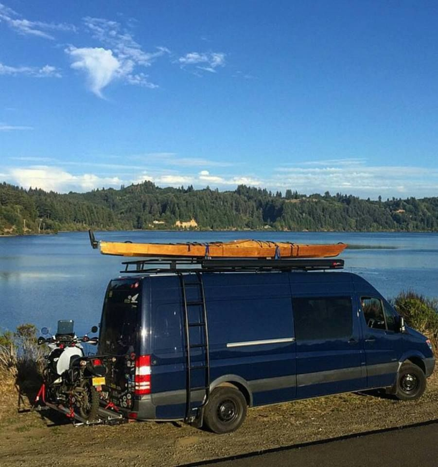 Van Life Mercedes Sprinter With Aluminess Roof Rack And Ladder Beautiful Spot By The River In Oregon