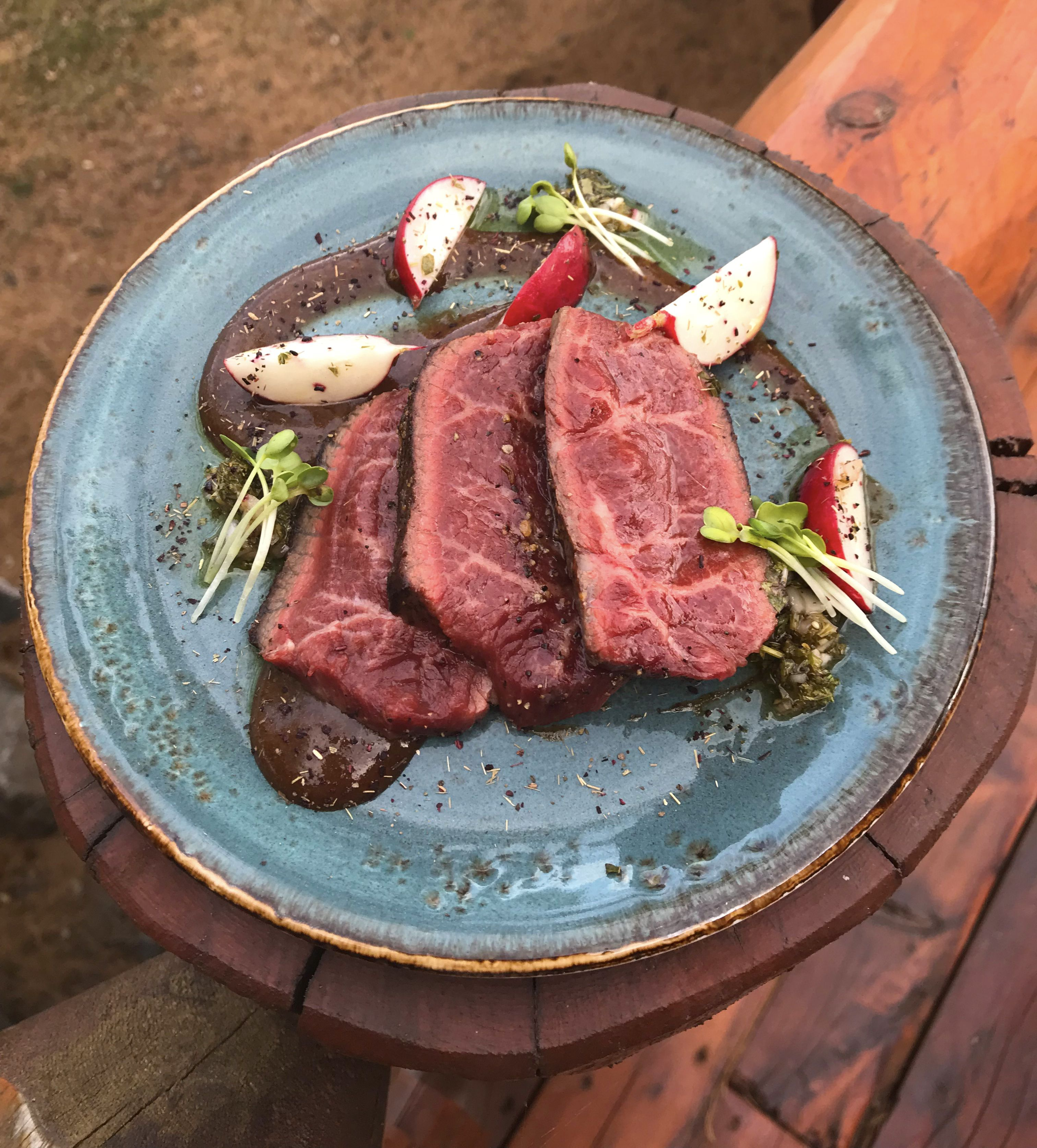 Nebraska Wagyu Beef dish from our Locations Wine Dinner