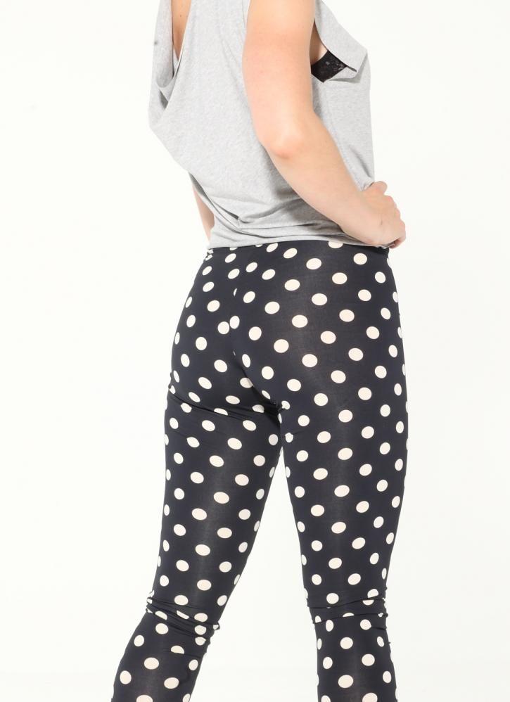 Black u0026 white polka dot leggings | Leggings | Pinterest | Polka dot leggings Black and Legs