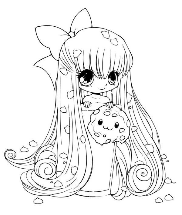 Girl Cokies Chibi Coloring Pages Cute Coloring Pages Princess Coloring Pages