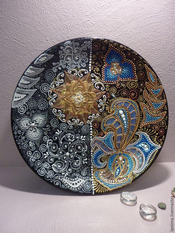 Купить Краски жизни - разноцветный, черно-белый, Тарелка декоративная, тарелка настенная, тарелка с росписью