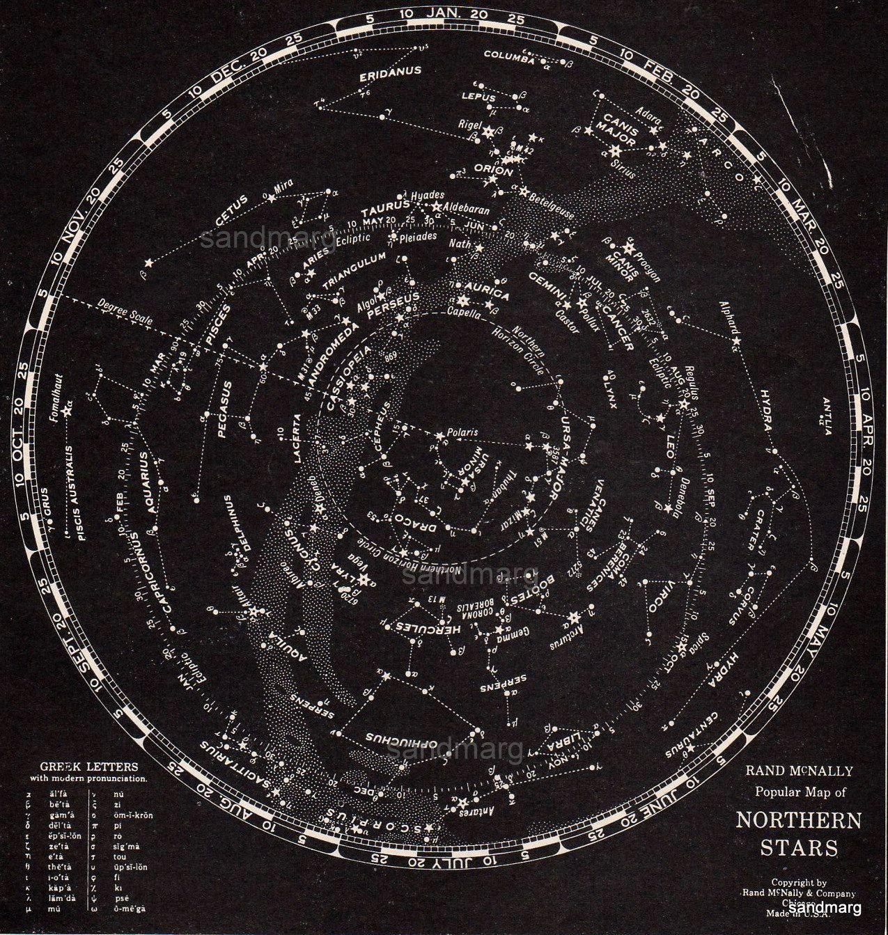 Rand Mcnally Star Chart Northern Hemisphere 1932 Science