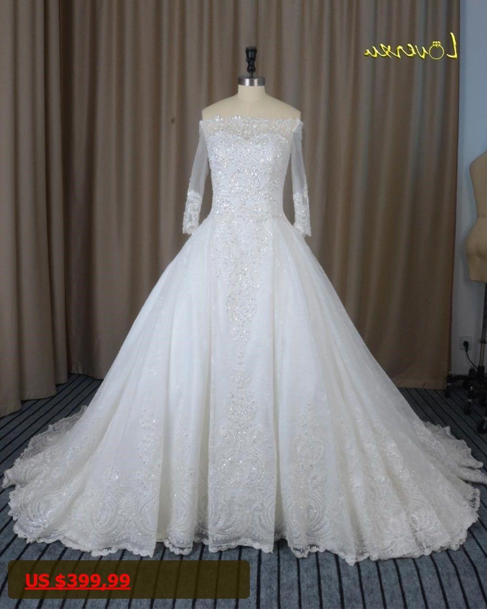 Wedding dress with long train  Loverxu Vestido De Noiva Boat Neck Long Sleeve Lace Wedding Dresses