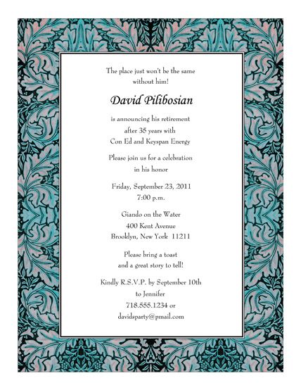 retirement party invitations templates Print Your Own Retirement - invitation format for an event